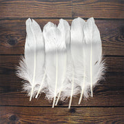 Dip Dyed Metallic Feathers - Silver, 6pc