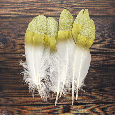 Glitter Feathers - Gold, 6pc