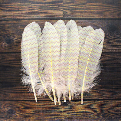 Printed Feathers - Chevron, 10pc
