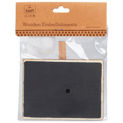 Chalkboard with Wooden Clip - Rectangle, 23.5X12X0.3cm, 1pc