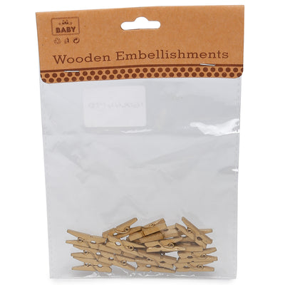 Wooden Pegs - Gold, 2.5cm, 20Pc
