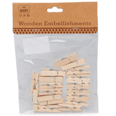 Wooden Pegs - Natural, 3.5cm, 20Pc