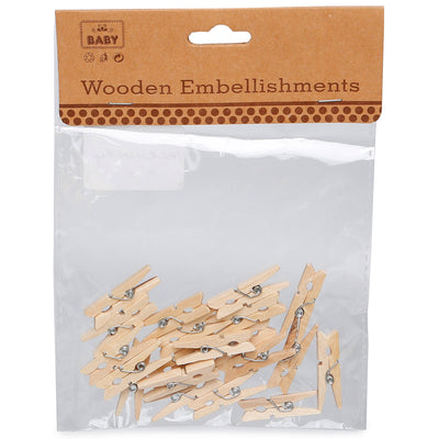 Wooden Pegs - Natural, 3.0cm, 20Pc