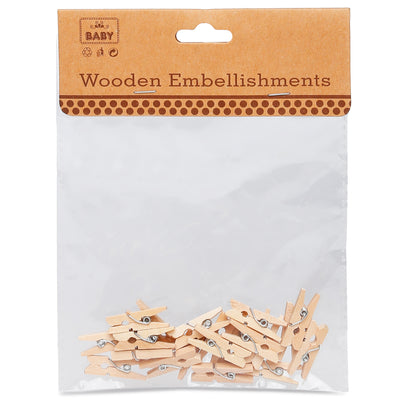 Wooden Pegs - Natural, 2.5cm, 20Pc