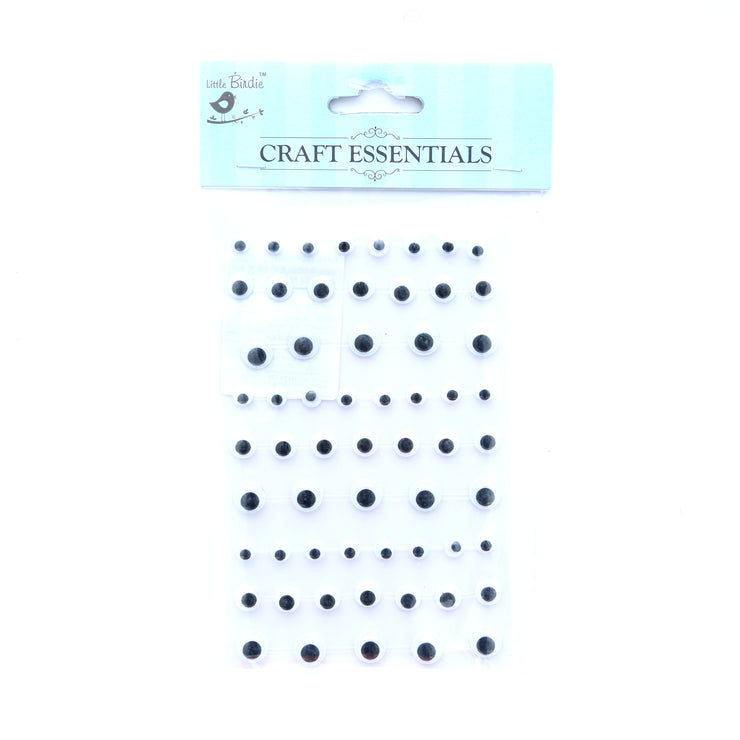 Googly Eyes - 6/8/10Mm, 9Strips, 72Pcs, 1Pk