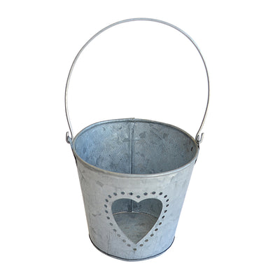 Galvanized Metal Bucket-  Perforated Heart