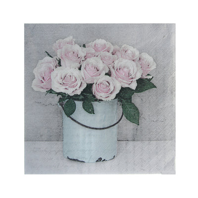 Decoupage Napkin 12x12 inch- Flower Bucket