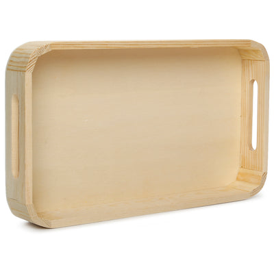 Wooden Rectangular Serving Tray - L17.5XW29.5XD4.5cm, 1 Pc