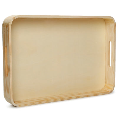 Wooden Rectangular Serving Tray - L26.5XW38XD5cm, 1 Pc