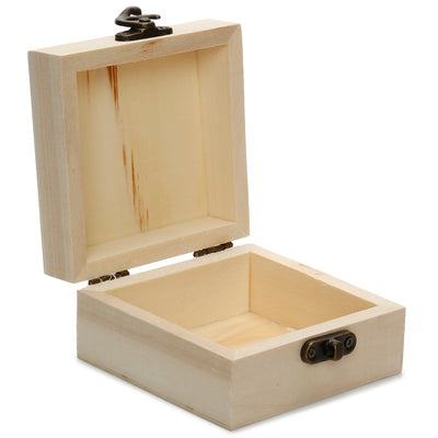 Wooden Square Box with Latch, 9X9X5cm, 1 Pc