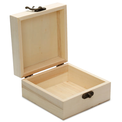 Wooden Square Box with Latch, 12X12X6cm, 1 Box