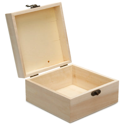 Wooden Square Box with Latch, 15x15x8cm, 1 Pc