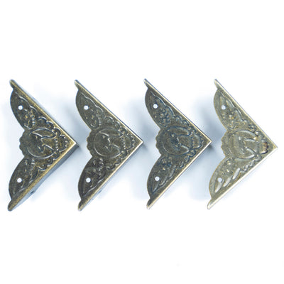 Decorative Metal Corner for DIY Crafts, Box - Peacock, 4pc