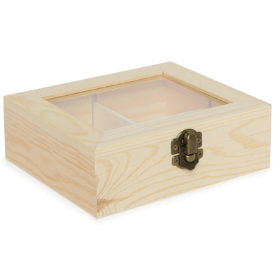 Glass Top Wooden Box with 4 compartments- 15X13X5, 1pc