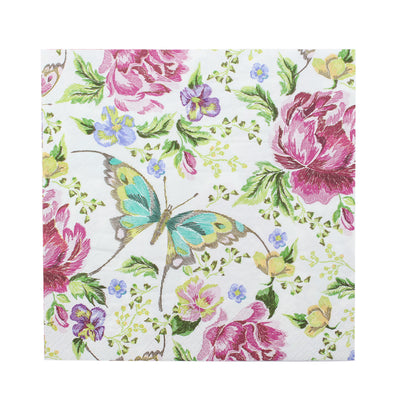 Decoupage Napkins 13 X 13 Inch- Blooms And Butterflies , 3 Ply, 1Pc