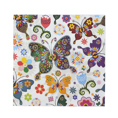 Decoupage Napkins 13 X 13 Inch- Colourful Butterflies , 3 Ply, 1Pc