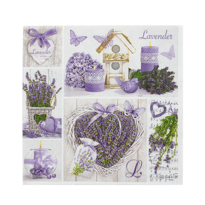 Decoupage Napkins 13 X 13 Inch- Lavender Basket , 3 Ply, 1Pc