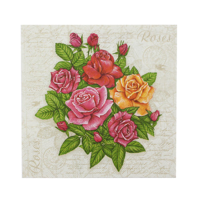 Decoupage Napkins 13 X 13 Inch- Rose Bunch , 3 Ply, 1Pc