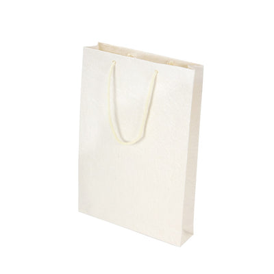 Metallic Leather Paper Bag- Cream  1Pc