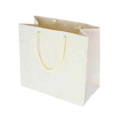 Metallic Leather Paper Bag 10pcs- Cream (Small)