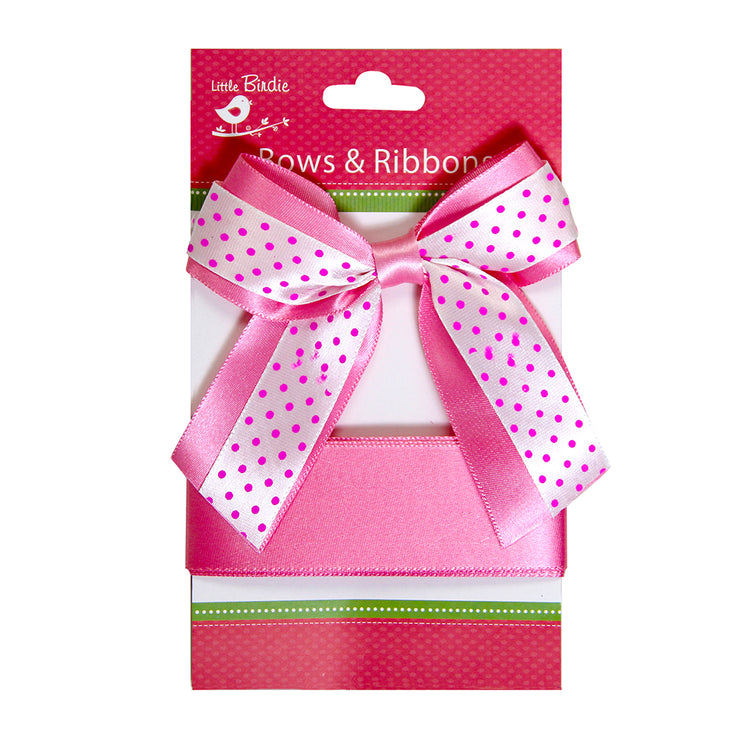 Satin Bow With Ribbon - Pink