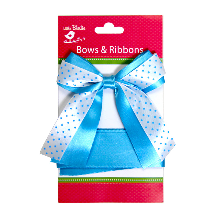 Satin Bow With Ribbon - Blue