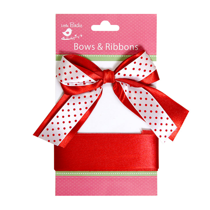 Satin Bow With Ribbon - Red