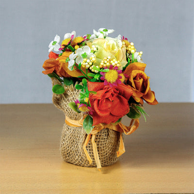 Artificial Flower Bunch in Burlap Wrapped Pot - Orange