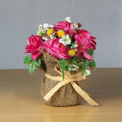 Artificial Flower Bunch in Burlap Wrapped Pot - Pink