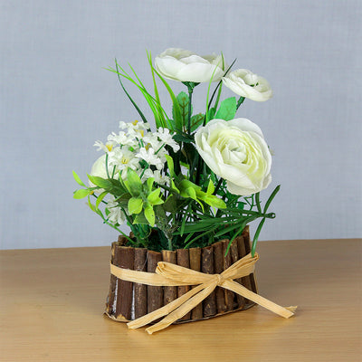 Artificial Rose Garden With Rustic Wooden Planter - White
