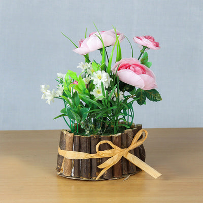 Artificial Rose Garden With Rustic Wooden Planter - Pink