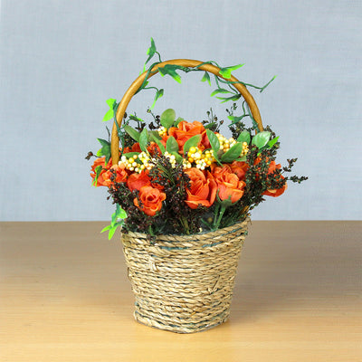 Artificial Blooming Roses in Twine Basket - Marmalade