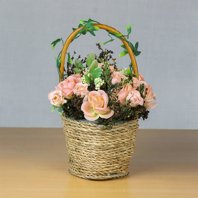 Artificial Blooming Roses in Twine Basket - Soft Pink