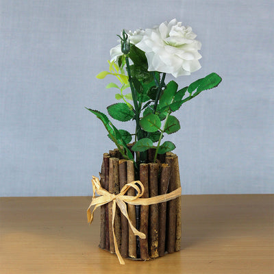 Artificial Rose With Rustic Wooden Planter - White