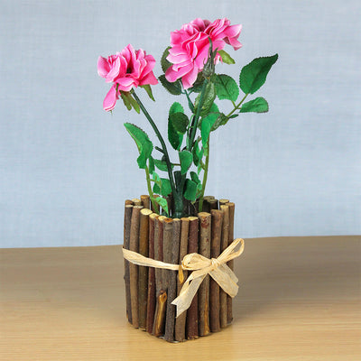 Artificial Rose With Rustic Wooden Planter - Sweet Pink