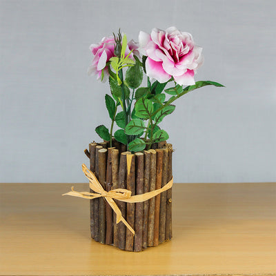 Artificial Rose With Rustic Wooden Planter - Pearl Pink