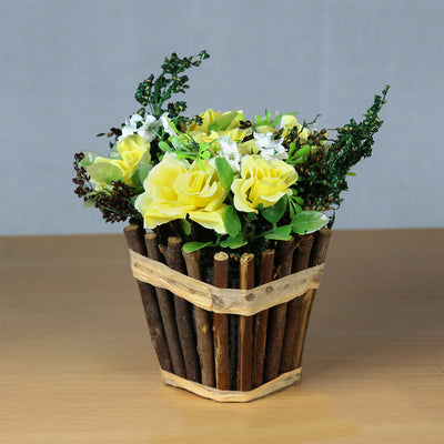 Artificial Rose Blooms in Rustic Wooden Planter - Yellow