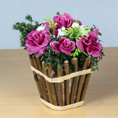 Artificial Rose Blooms in Rustic Wooden Planter - Wine