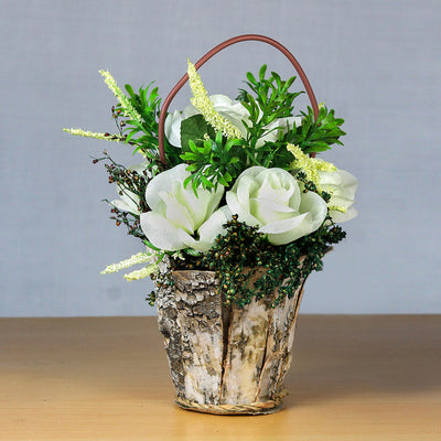 Artificial Floral Arrangement in Rustic Wooden Planter - White