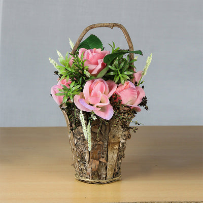 Artificial Floral Arrangement in Rustic Wooden Planter - Pink