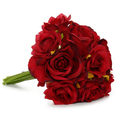Artificial Flower-  Rose Bunch, Berry Red, 10 inch, 1 Sprig