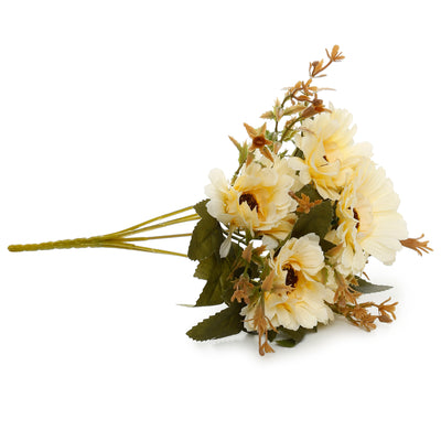 Artificial Flower-  Gerbera, Cream, 12 inch, 1 Sprig