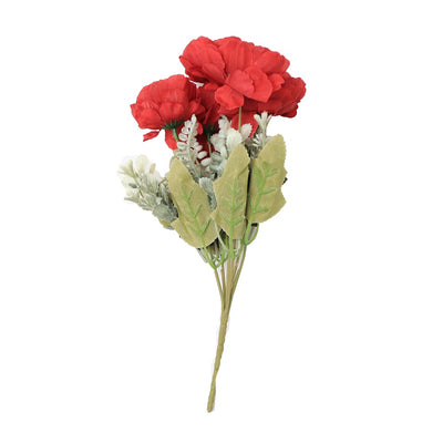 Artificial Flower - Peony Bunch, Cherry Red, 1 Sprig