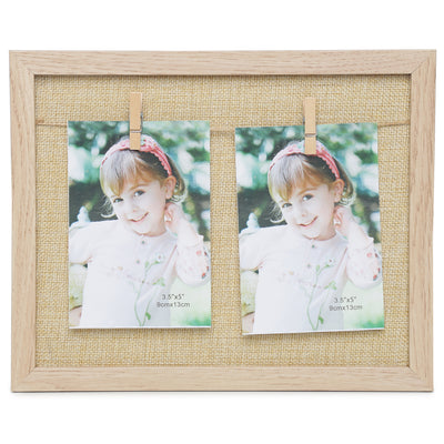 Burlap Wooden Photo Frame with Pegs- 20X25cm, 1pc