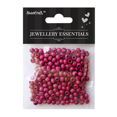 Wooden Beads 6mm,12gm - Pink