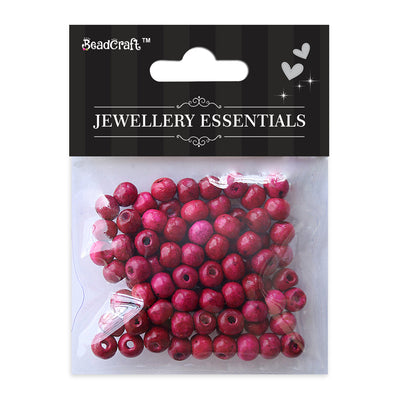 Wooden Beads 8mm,12gm - Pink