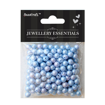 Pearl Beads 6mm,20gm - Plastic, Light Blue