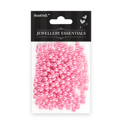 Pearl Beads 6mm,20gm  - Plastic, Light Pink