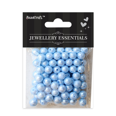 Pearl Beads 8mm,20gm  - Plastic, Blue