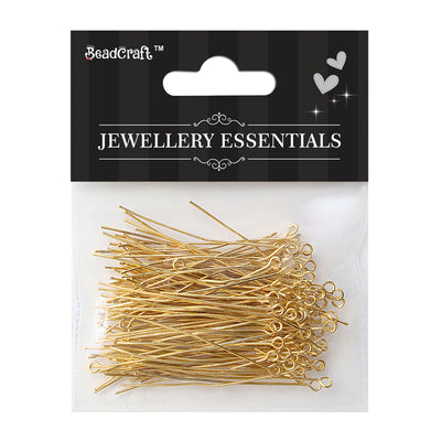 Jewellery Findings - Eye Pin, Gold 50mm